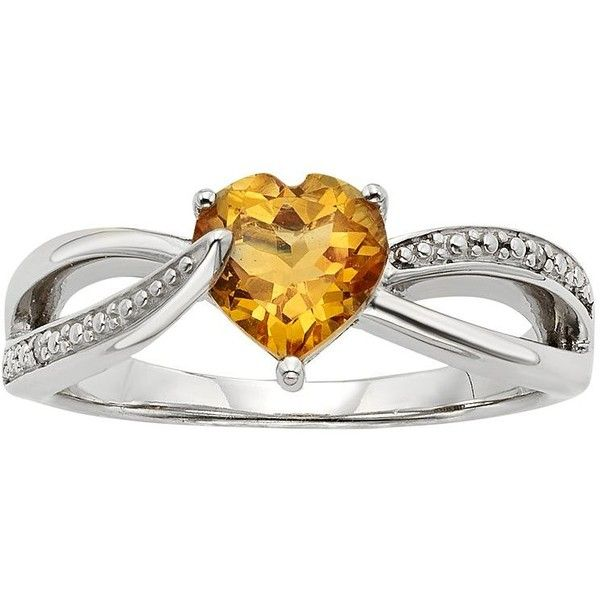 Citrine & Diamond Accent Sterling Silver Heart Bypass Ring (Orange) ($50) ❤ liked on Polyvore featuring jewelry, rings, orange, citrine ring, orange sapphire ring, diamond accent rings, heart jewelry and sterling silver rings
