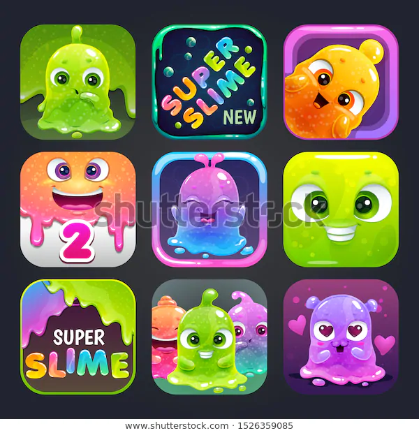 Funny Cartoon Colorful App Icons Slime RoyaltyFree