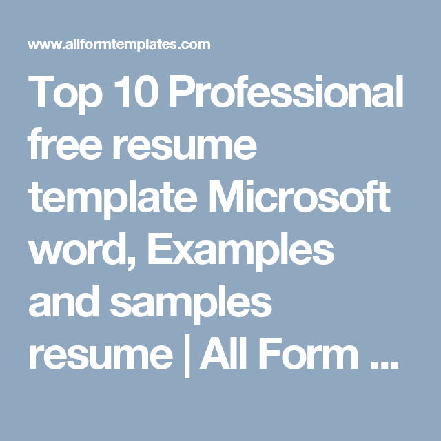 Top  Professional Free Resume Template Microsoft Word Examples