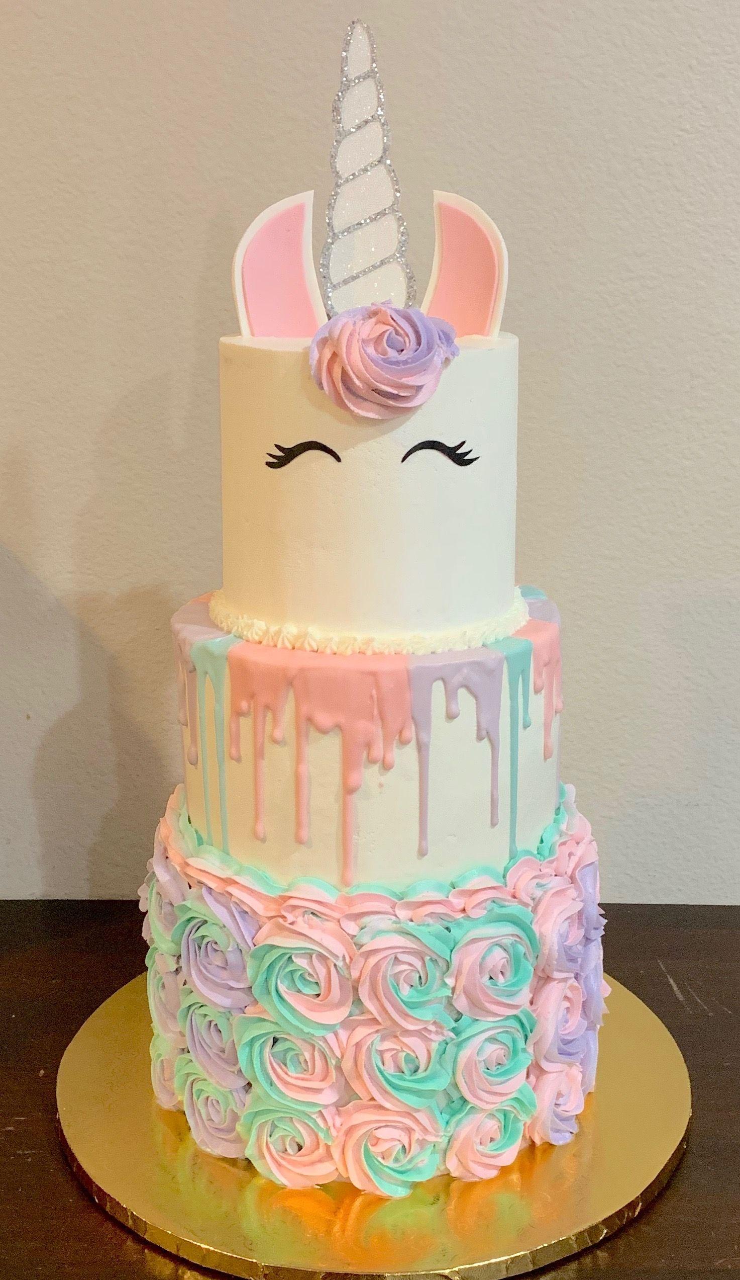 3 Tier Tri Color Unicorn Buttercream Birthday Cake