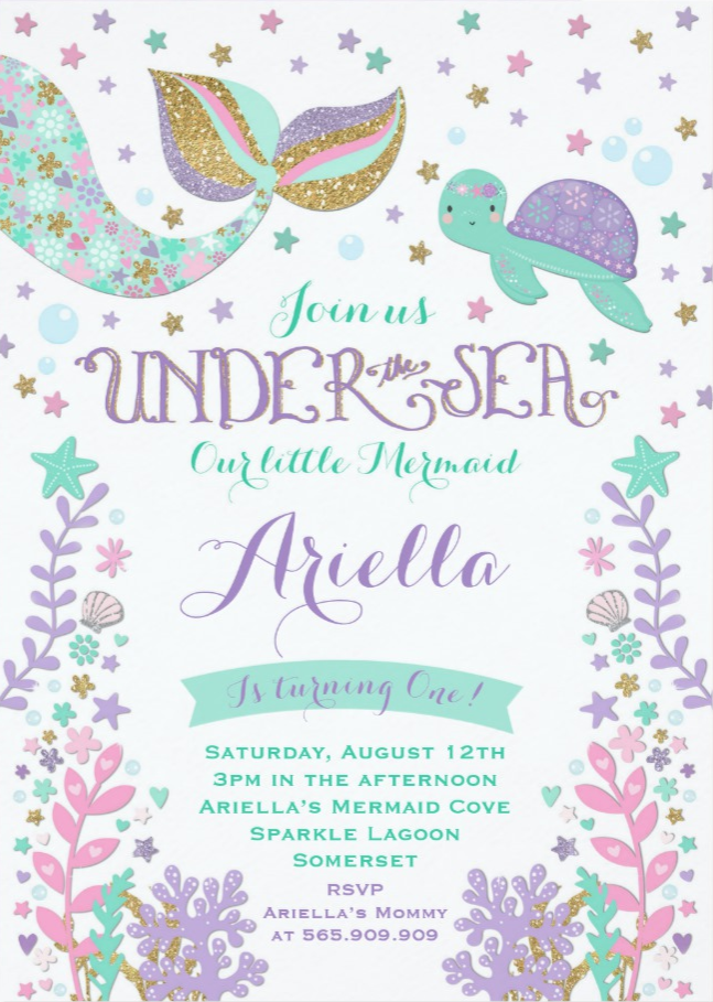 Mermaid Birthday Invitation Under The Sea PartyMermaid Pink Gold Party A Perfect Way To Announce Your