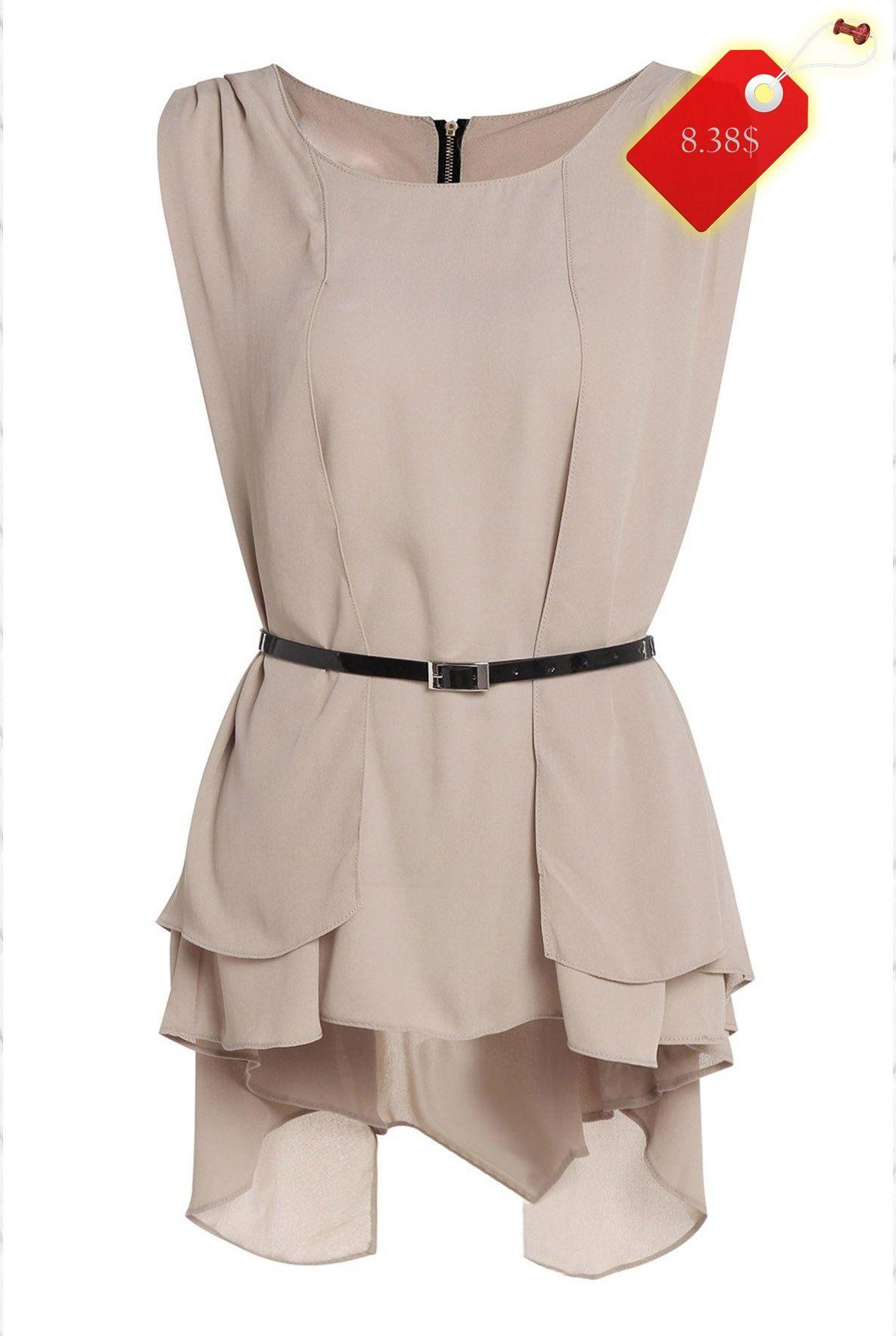 Simple design sleeveless scoop neck ruffled chiffon blouse for women