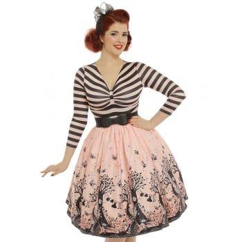 39 Sinead 39 Pink Fairies Print Swing Dress From Lindy Bop Uk Vintage Inspired Fashion Swing Dress Vintage Inspired Dresses