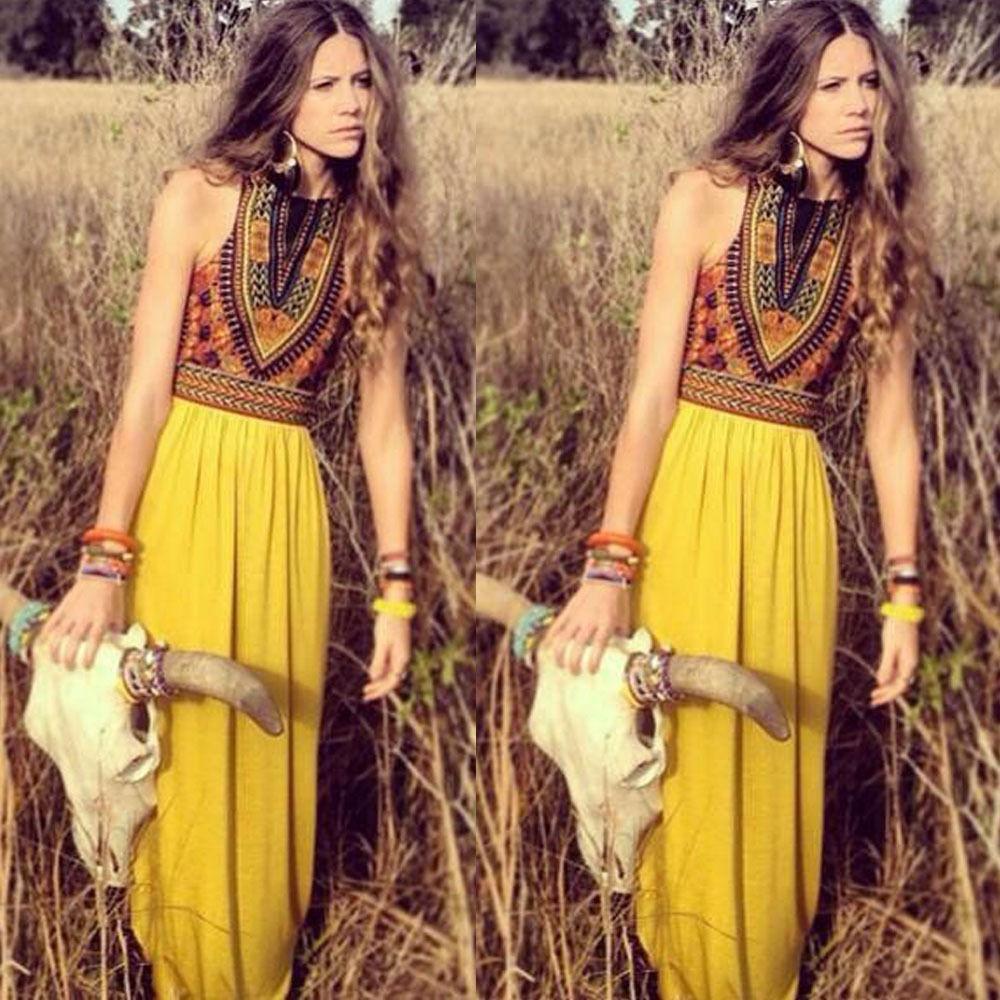Boho women floral maxi dress sleeveless summer evening long skirt
