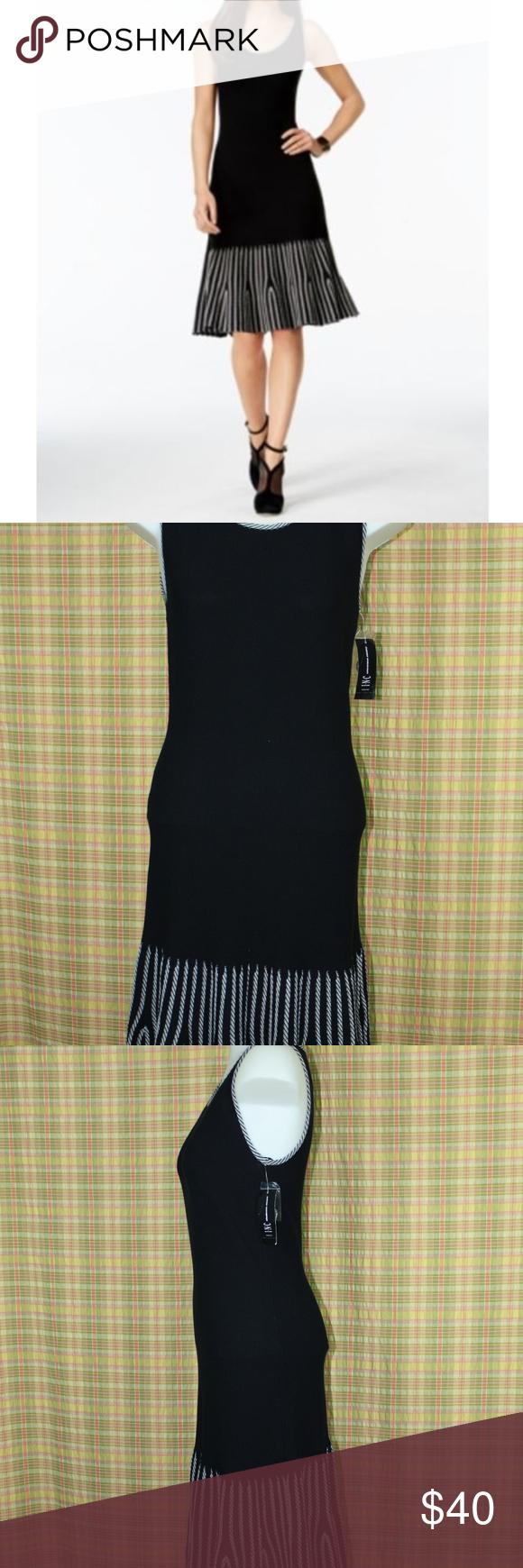 Striped flounce hem pullover dress black white m nwt pullover