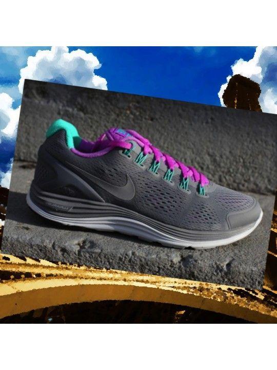 Chaussures de course Nike Lunarglide+ 4 Raisins Femmes Cool Grey / Violet Laser / Bleu-Vert g5AJHg