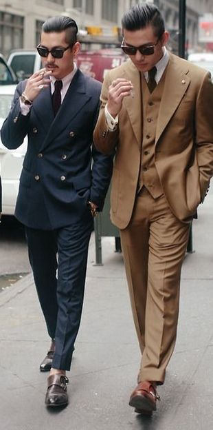 Navy Double Breasted Suit, and Caramel 3 piece Suit. Men's Spring ...