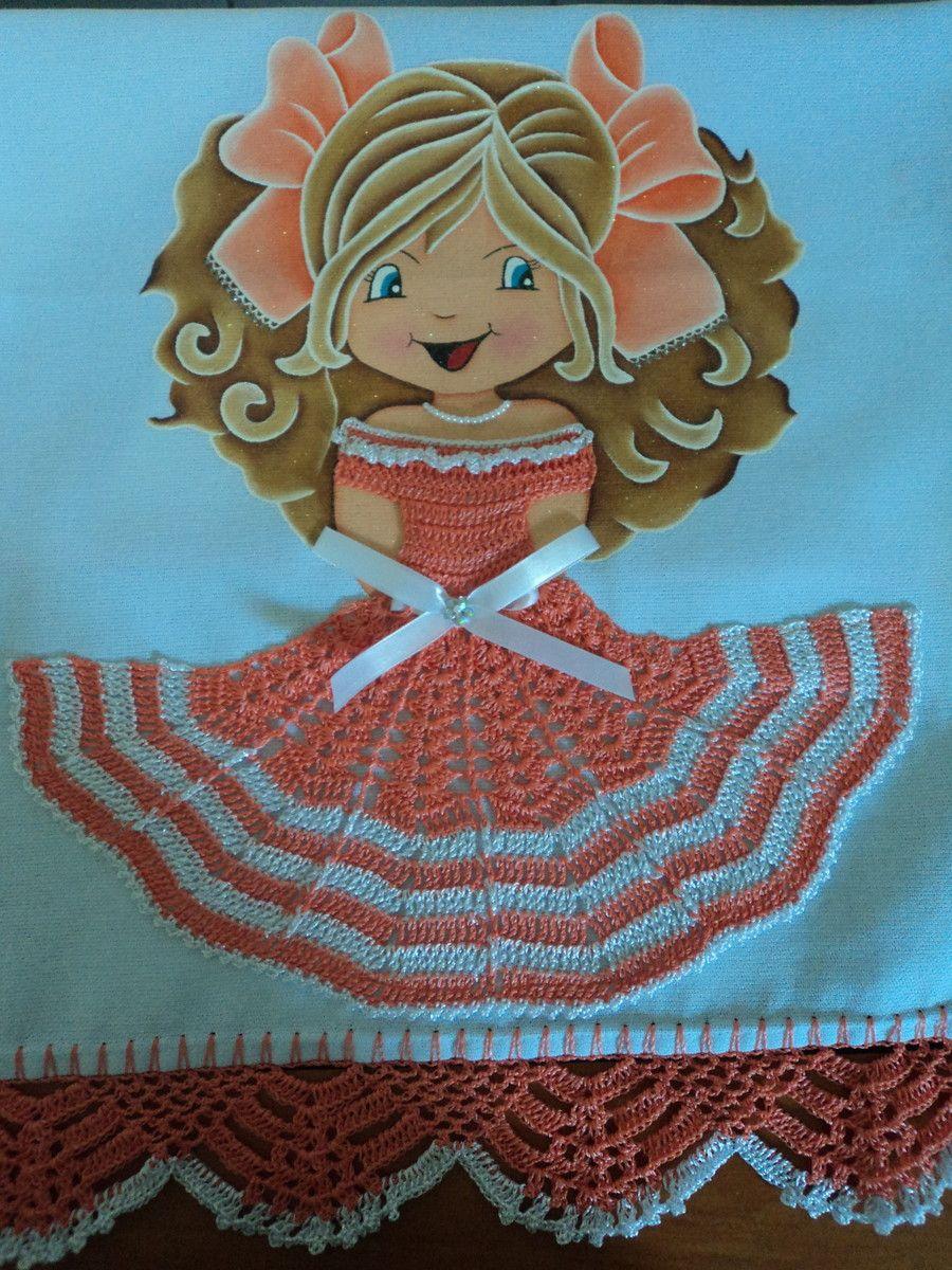 Top Pano de prato de bonequinha | Bonecas pintadas | Pinterest | Panos  QZ47