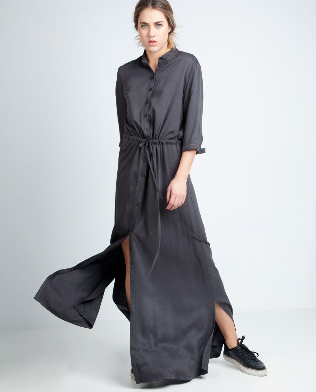 Dark Grey Maxi Shirt Dress | greek designers | Pinterest | Maxi ...