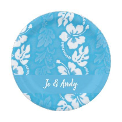 Luau Beach Party Ocean Blue Hawaiian Flower Paper Plate - kitchen gifts diy ideas decor special  sc 1 st  Pinterest & Luau Beach Party Ocean Blue Hawaiian Flower Paper Plate - kitchen ...