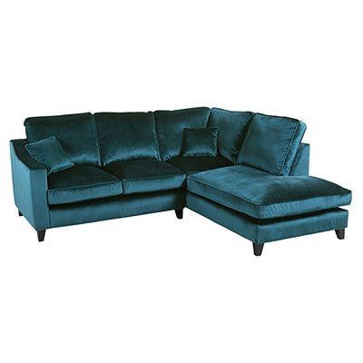 Tate Velvet Right Hand Corner Chaise Teal Velvet Corner Sofa Teal Corner Sofas Corner Sofa