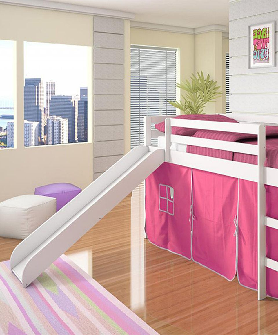 Take a look at this Pink & White Tent Loft Bed & Slide