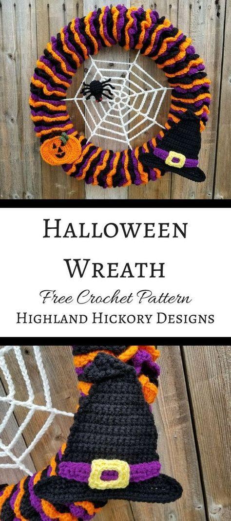 Photo of Halloween Wreath – Highland Hickory Designs – Free Crochet Pattern