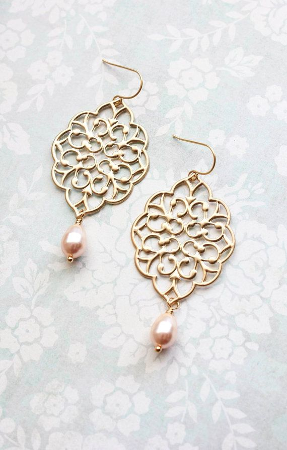3d82690ac63813 Gold Filigree Earrings Peach Pearl Drops Big by apocketofposies ...