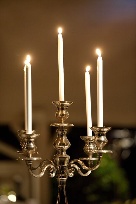 Candelabra - perfect for an evening outdoor wedding reception and table setting.