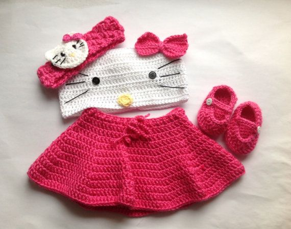 Handmade Crochet Kitty Cat outfit set (tube top, skirt, headband and ...