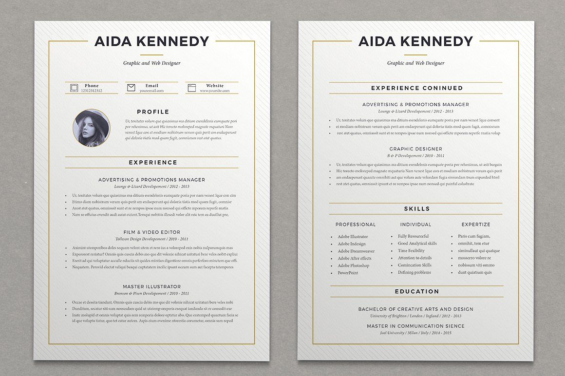 Resume Aida 2 Pages Resume Cover Letter For Resume Unique