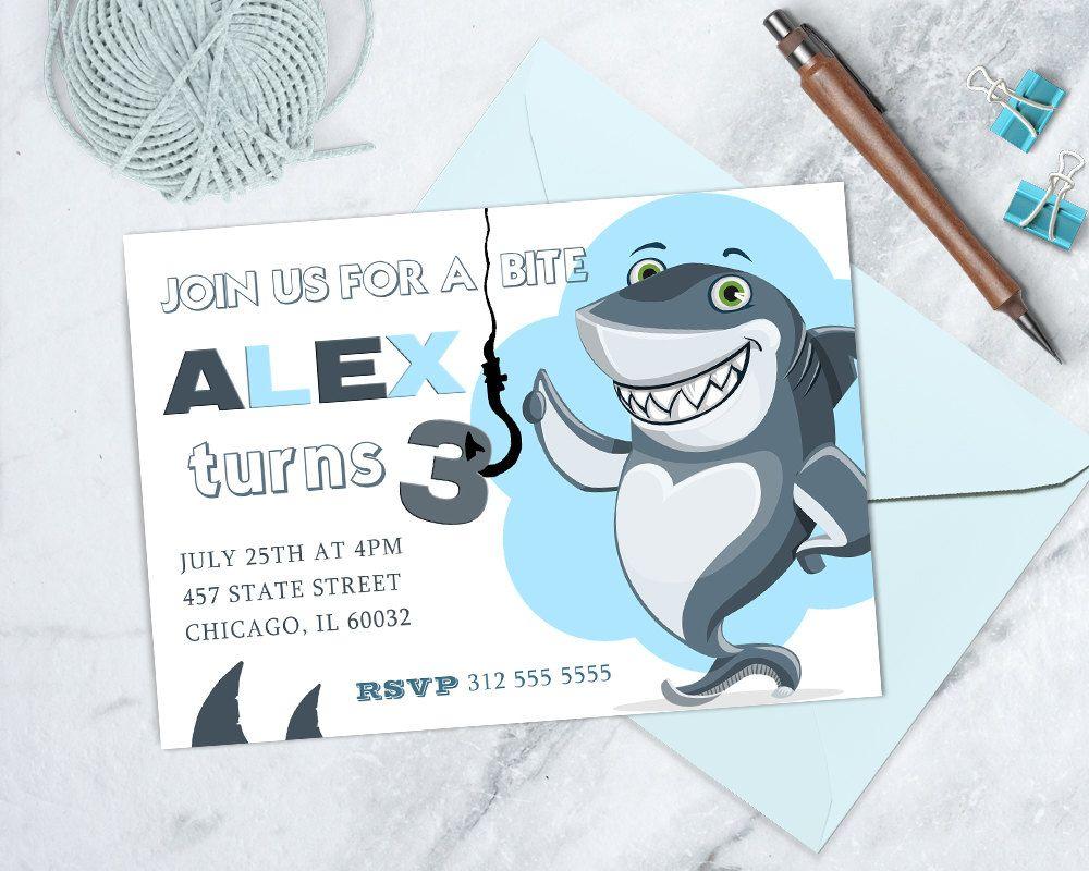 Under the Sea Invitation, Shark Birthday Invitation, Shark Party, Printable Shark Invitation, Jaws Birthday, Fish Birthday Invitation