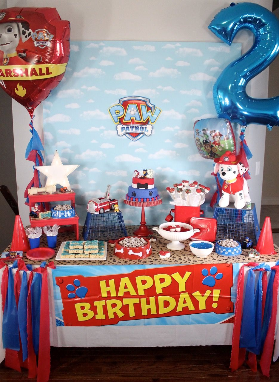 Cloud Backdrop From Micheals Bone Shaped Rice Crispie Treats Paw Patrol Birthday Decorations