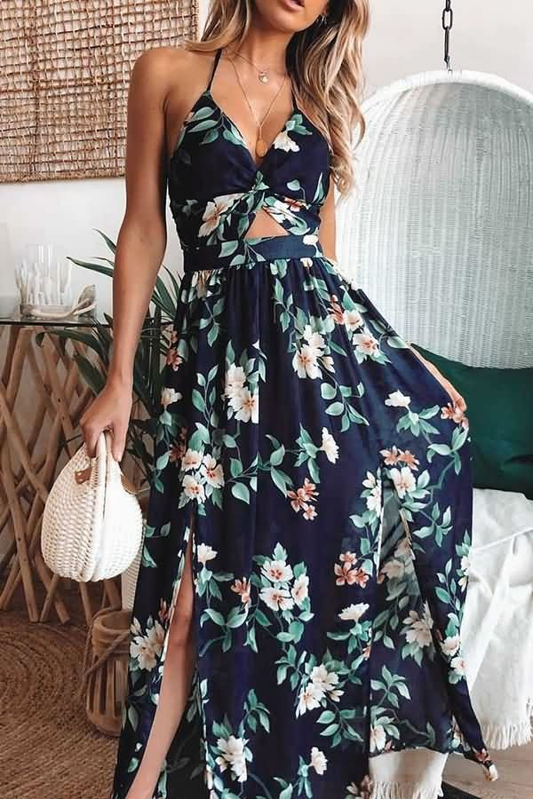 22fd68566b8 Dark-blue Floral Leaf Print Halter Cutout Slit Hem Sexy Maxi Dress #056158  @ Casual Dresses,Women Casual Dresses,Cheap Casual Dresses,Cute Casual  Dresses ...