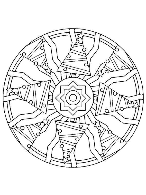 Gratis Kleurplaten Kerst Mandala.Kerstmis Mandala Kerstbomen Kleurplaat Christmas Kerstmis