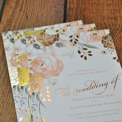 Whimsical Rose Foil Invitation Foil Stamped Wedding