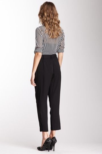 Silk Blend Belted Pants