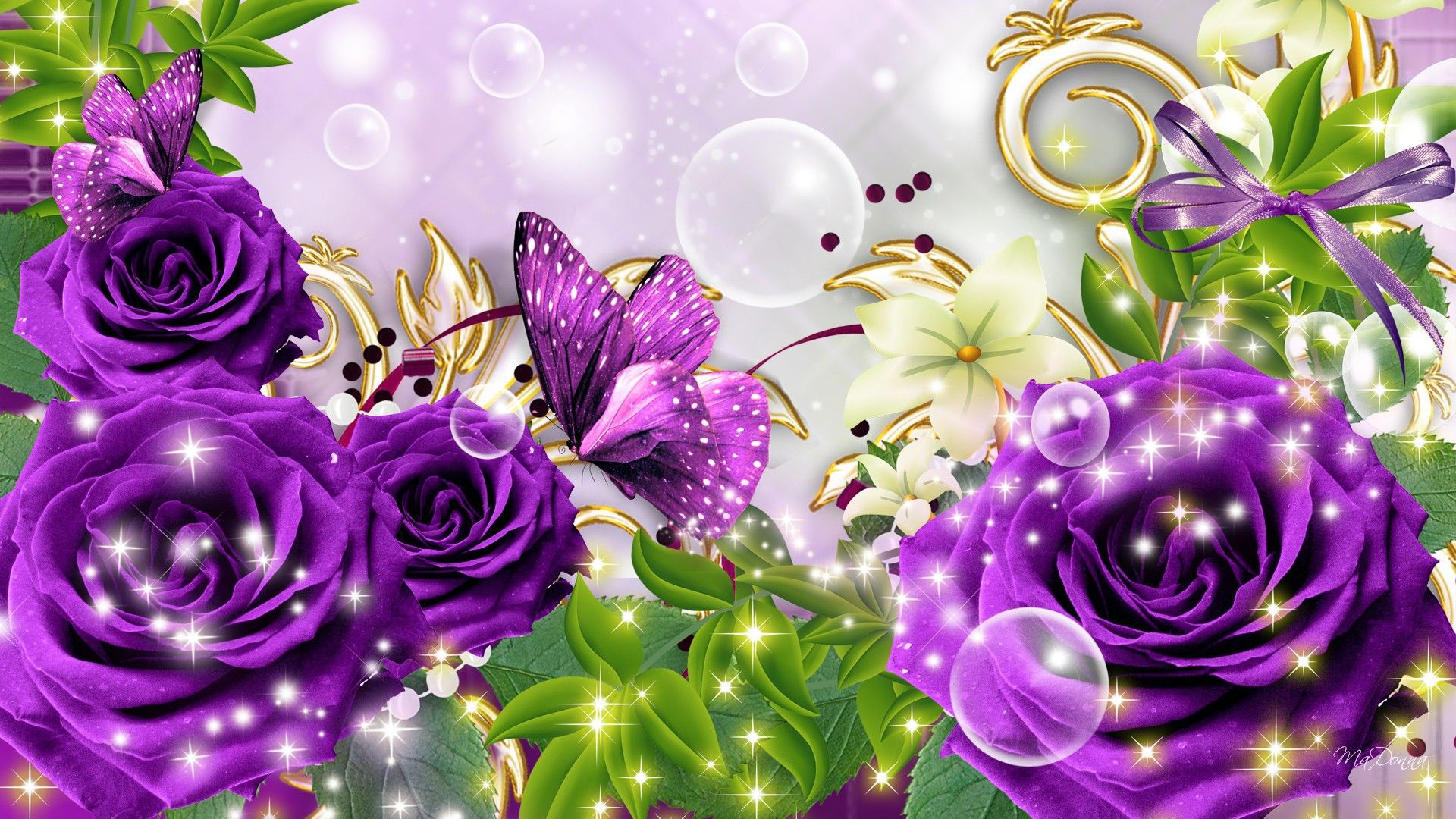 Purple roses and butterfly, picture on March 8 | Purple ...