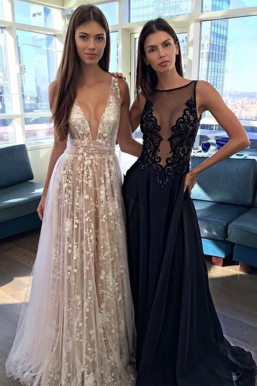 8db0bfd819a5 elegant deep v-neck lace champagne prom dresses
