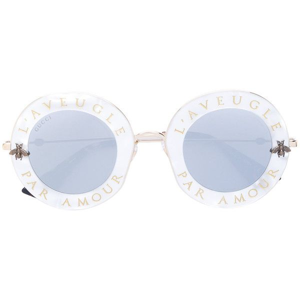 Gucci Eyewear L Aveugle Par Amour sunglasses (€595) ❤ liked on Polyvore  featuring accessories, eyewear, sunglasses, grey, round sunglasses, bee  glasses, ... eb28516f9da3