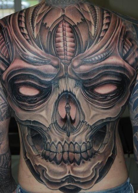 Spooky Great Skull Tattoo On Whole Back Skull Tattoo Ideas 59 Skull Tattoos Skull Tattoo Design Skull Tattoo