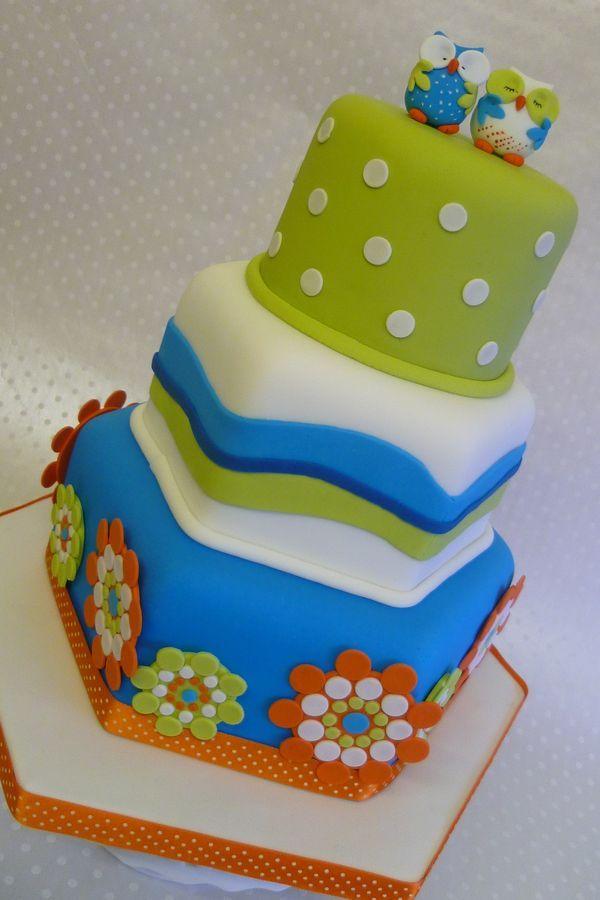 Colourful Contemporary Wedding Cakepink Hoot Owl Cake Owl Cake