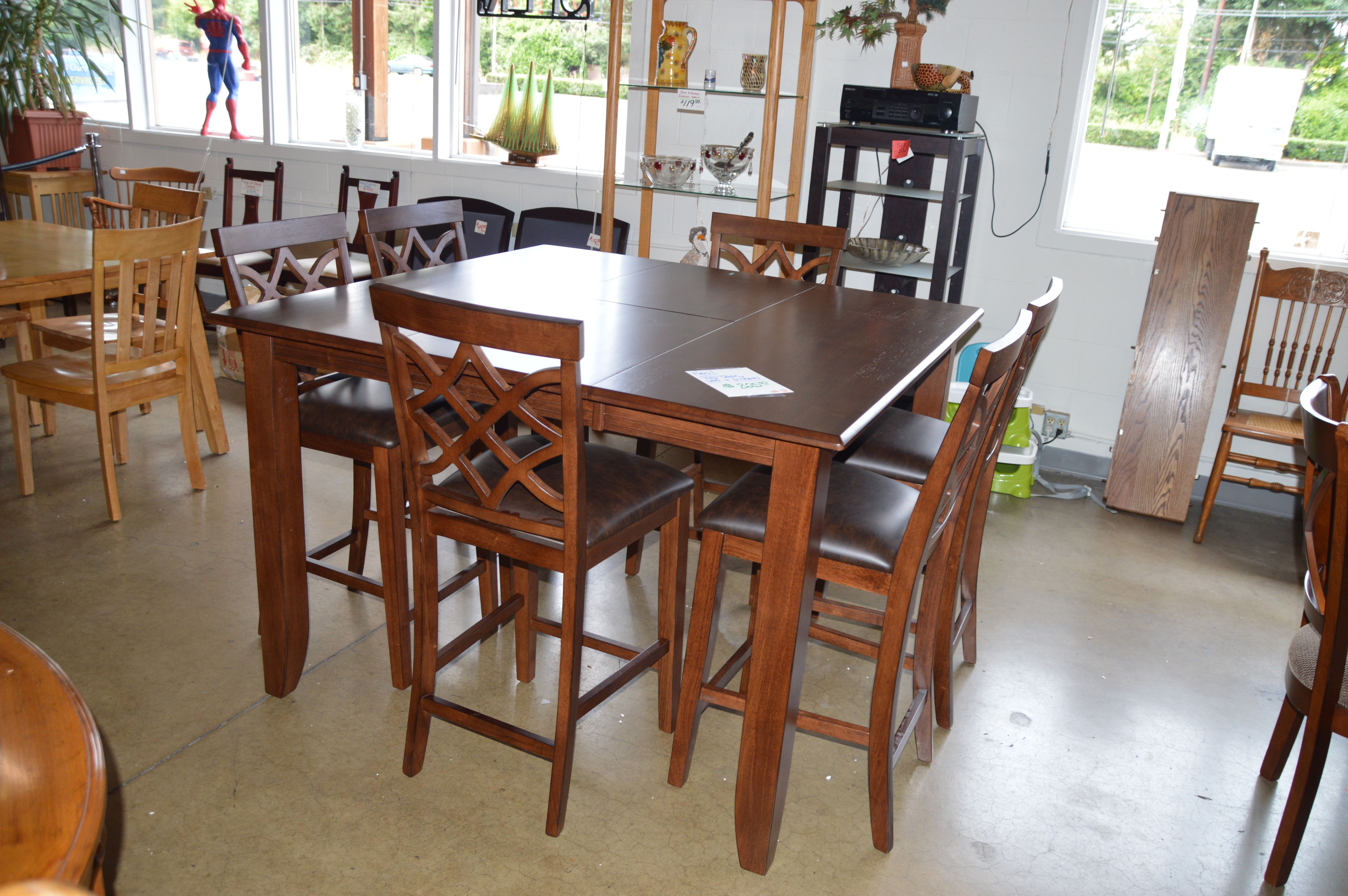 New Tall Table Butterfly Leaf And 6 Chairs Dining Room Sets