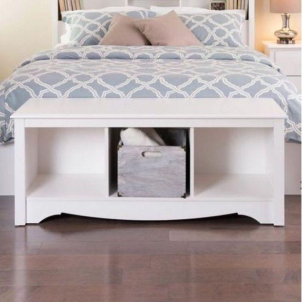 Contemporary Home Furniture Three Compartments White Cubbie Storage ...