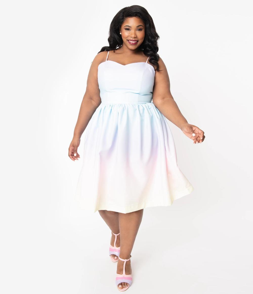 Magnolia Place Plus Size Pastel Rainbow Ombre Ray Swing Dress Plus Size Wedding Guest Dresses Dresses Swing Dress [ 1164 x 1000 Pixel ]