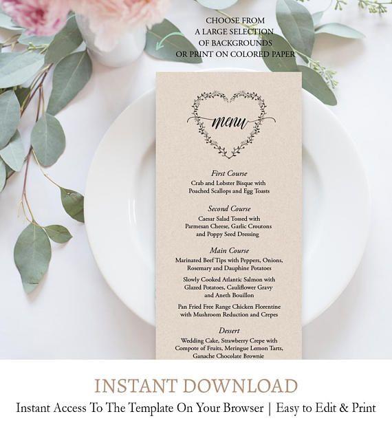 Rustic Menu Card Template, Heart Wreath, Printable Wedding Menu, Wreath Dinner  Party Menu, DIY Menu, Instant Download, Digital Template, C6