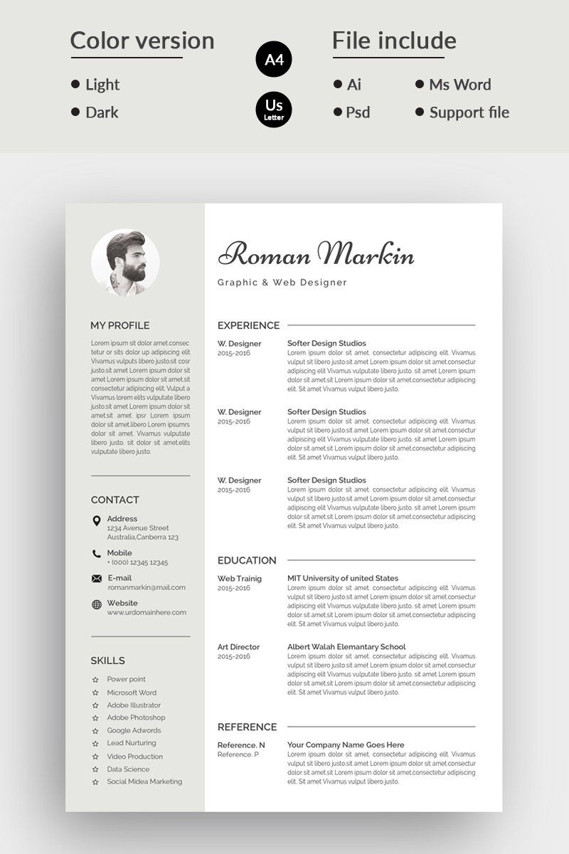 Jhon Markin Modern Resume Template in 2020 Resume