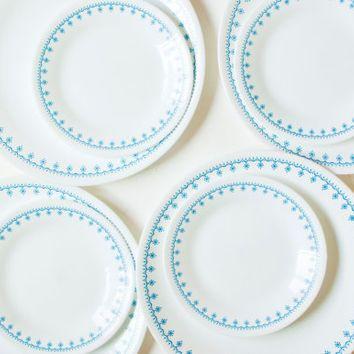 Corelle Blue Snowflake Dinnerware Set 8 Piece Corelle Ware Dinner Plates Dessert Plates Corning Dining Set Blue Rim Made in USA  sc 1 st  Pinterest & Best Blue Dinnerware Set Products on Wanelo | Corelle | Pinterest ...
