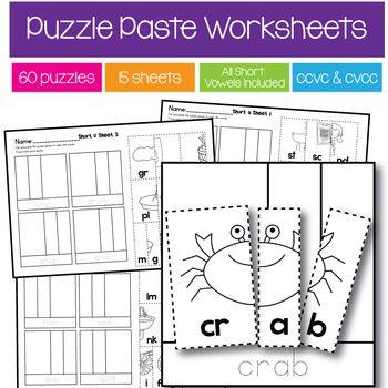 Consonant Blends Word Building Puzzles (ccvc and cvcc)