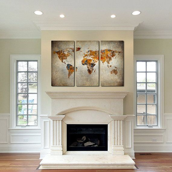 mother s day gift rustic world map canvas art set of 3 on canvas wall art id=55181