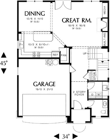 Plan 69134am 4 Bedroom Plan With Narrow Footprint Carriage House Doors How To Plan House Plans