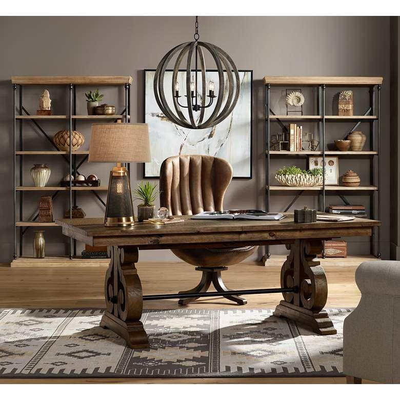Weathered Oak Wood Orb Pendant Light, Lamps Plus Furniture