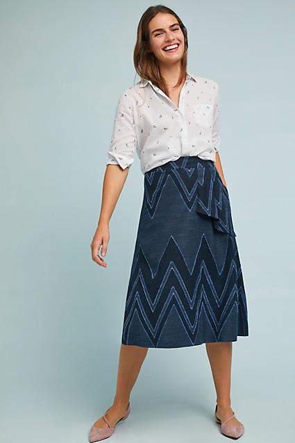 b322e8cba Textured Chevron Midi Skirt | wardrobe | Midi Skirt, Chevron skirt ...