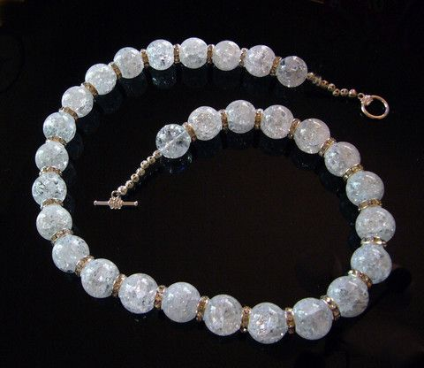 #241 White Crackle Necklace - Our Creative Side
