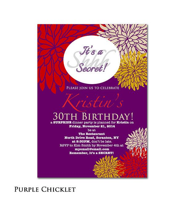 surprise party invitation fall 30th birthday invitation purple