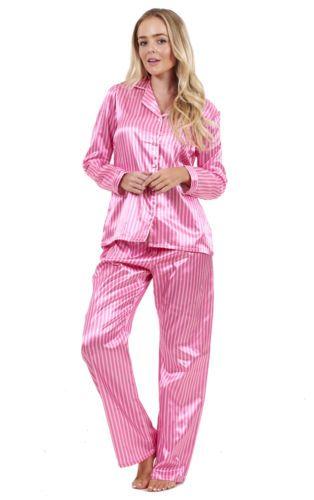 188c884037 Ladies Stunning Printed Satin Pyjamas Long Sleeve Nightwear Silk ...
