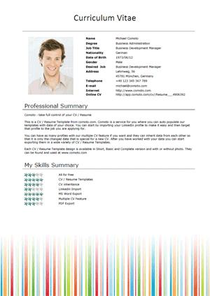 Free Cv Templates Stripes Short Download Microsoft Word Resume Template Resume Template Free Cv Template Free
