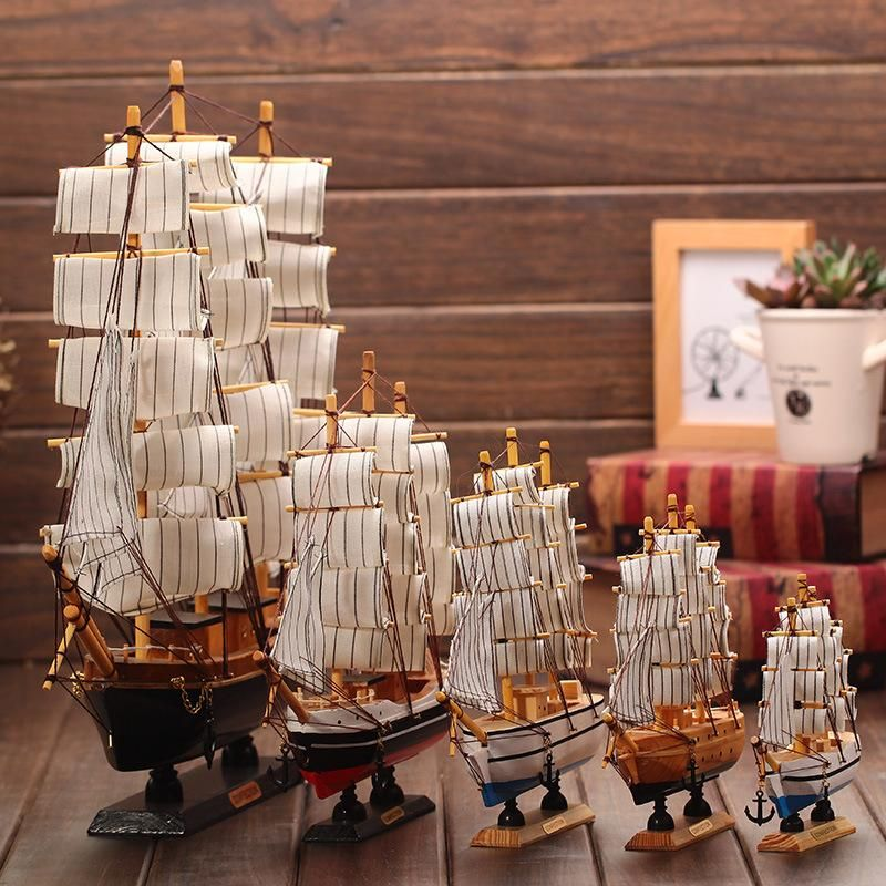 Wooden Ship Model Nautical Decor Home Crafts Figurines Miniatures Marine  Blue Wooden Sailing Ship Wo   ICON2 Luxury Designer Fixures #Wooden #Ship  #Model ...