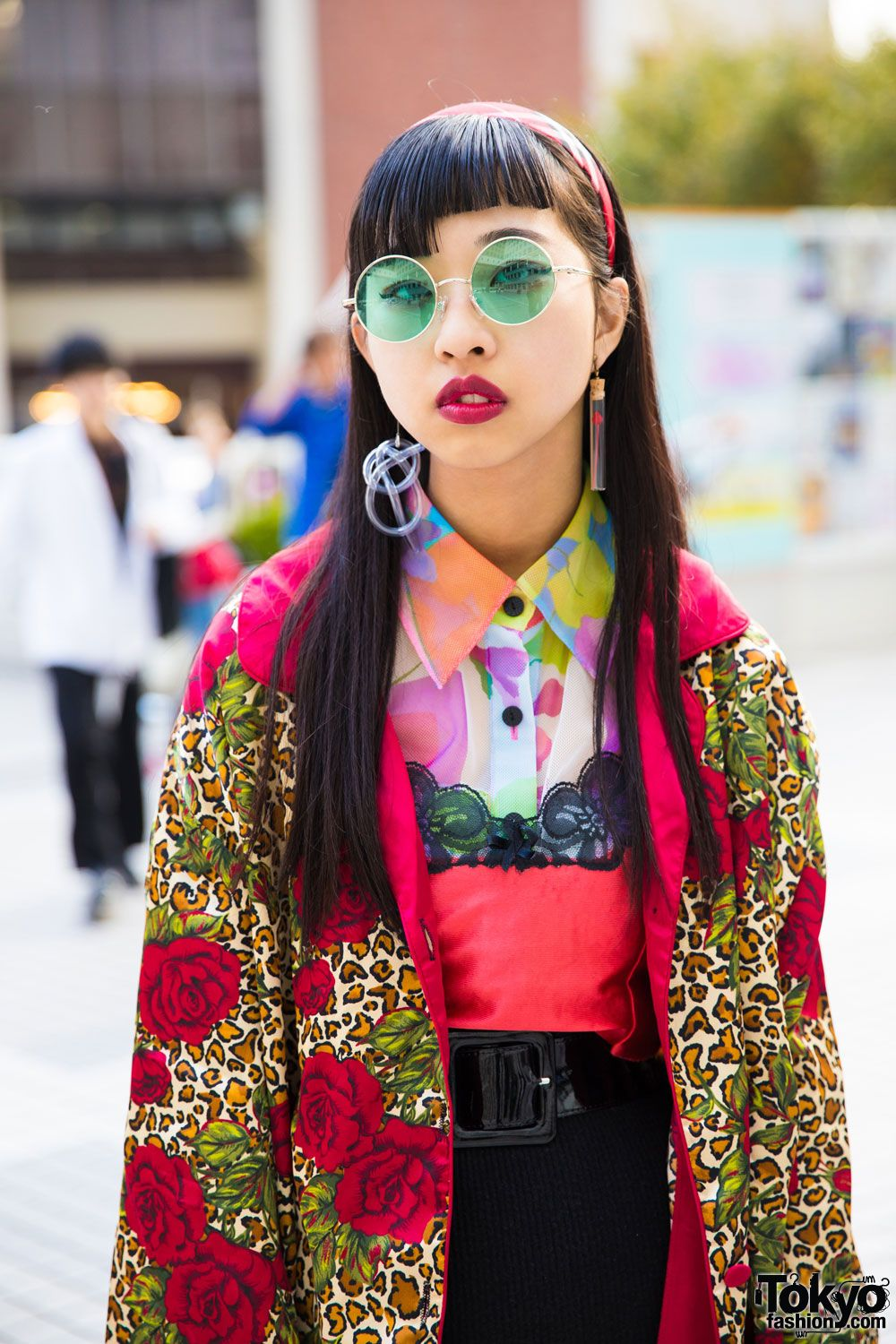 Japanese Fashion Student In Vintage Mixed Prints Street Style W Gitar C 370 Myuno Bubbles Tokyo Vivienne Westwood