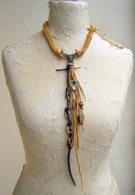 Necklace Fringe Amulet Bull Tribal Handmade Beads  Talisman Necklace with Handmade Pendants Metal Salvage